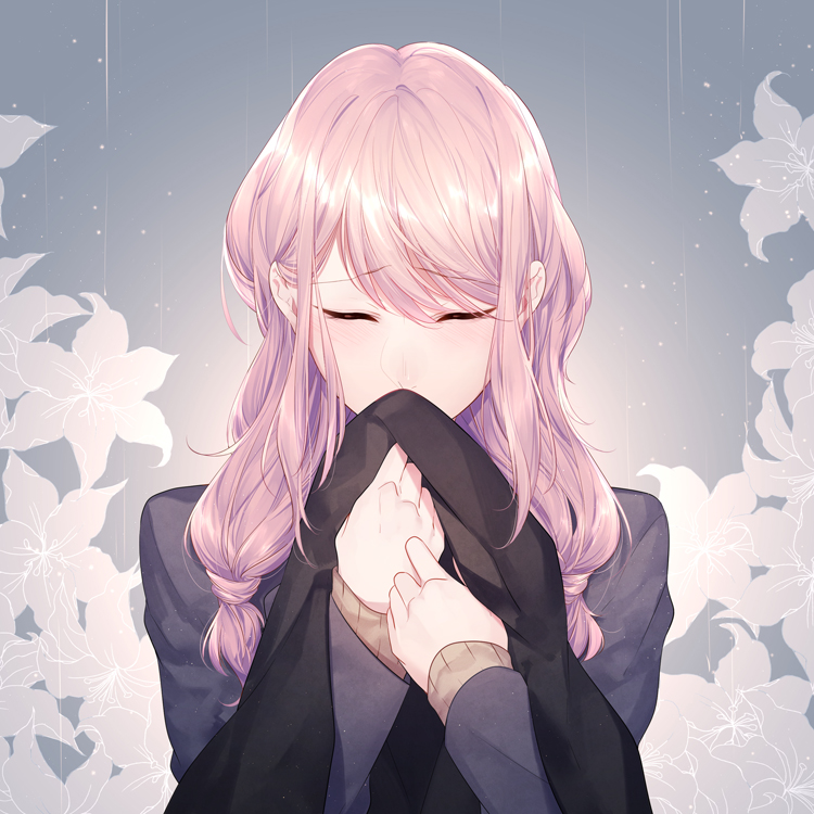 1girl bangs brown_sweater closed_eyes eyebrows_visible_through_hair flower grey_background grey_jacket hair_over_shoulder holding jacket long_hair megurine_luka megurine_luka_(vocaloid4) miyamotokannn pink_hair shiny shiny_hair solo sweater swept_bangs twintails upper_body vocaloid white_flower