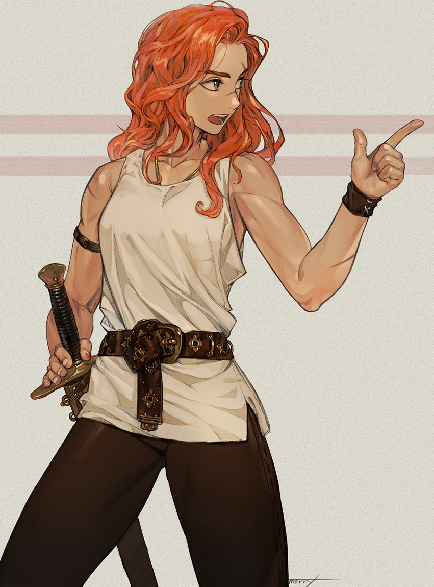1girl bare_shoulders belt character_request commentary copyright_request cowboy_shot grey_eyes hand_on_sword looking_to_the_side na_in-sung nose_scar open_mouth pointing redhead scar sheath sheathed shirt simple_background solo toned wavy_hair white_shirt wristband