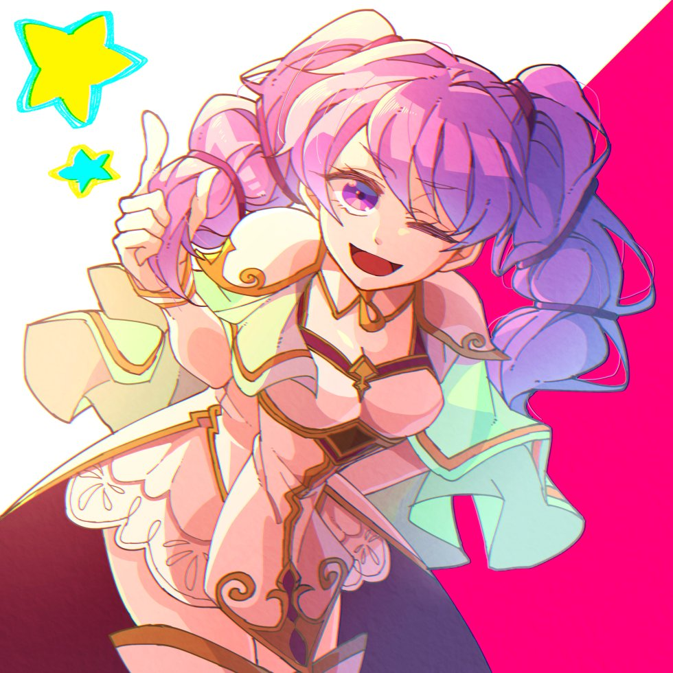1girl blush cape cosplay dress elbow_gloves fire_emblem fire_emblem:_rekka_no_ken fire_emblem:_seima_no_kouseki fire_emblem_heroes gloves green_eyes green_hair hzk_(ice17moon) l'arachel long_hair looking_at_viewer one_eye_closed open_mouth pink_hair serra smile solo staff twintails violet_eyes