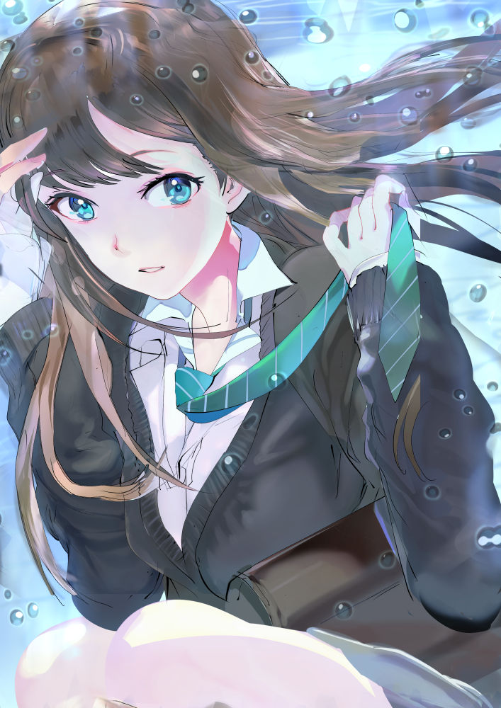 119 1girl arm_up bangs black_cardigan brown_hair bubble cardigan collared_shirt commentary cowboy_shot eyebrows_visible_through_hair feet_out_of_frame floating_hair green_eyes green_neckwear grey_skirt hand_up holding holding_necktie idolmaster idolmaster_cinderella_girls light long_hair long_sleeves looking_to_the_side miniskirt necktie parted_lips partially_unbuttoned school_uniform shibuya_rin shiny shiny_hair shirt skirt solo straight_hair striped_neckwear swept_bangs underwater white_shirt wing_collar