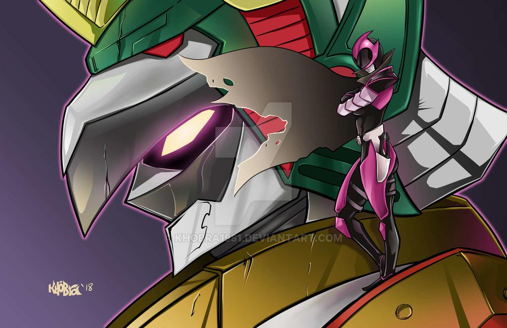 1girl cape crossed_arms gravezord khobra1981 mecha power_rangers ranger_slayer robot