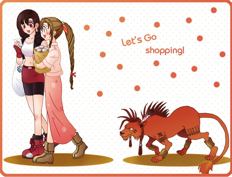 aerith_gainsborough black_hair braid brown_hair final_fantasy final_fantasy_vii long_hair multiple_girls red_eyes red_xiii shopping tifa_lockhart