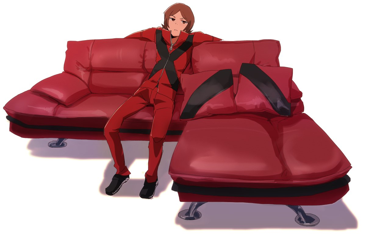 1boy black_footwear brown_eyes brown_hair closed_mouth couch high_collar jacket looking_at_viewer male_focus pants persona persona_2 red_jacket red_pants shoes simple_background solo suou_tatsuya u-ka_(pixiv5407) white_background zipper