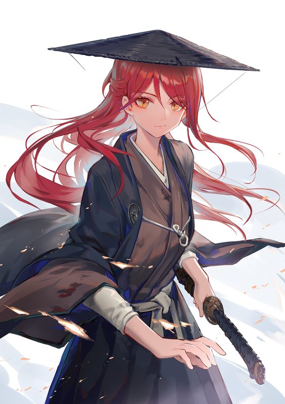 1girl blood blood_stain hat holding holding_sword holding_weapon huanxiang_heitu japanese_clothes katana kimono long_hair love_live! love_live!_sunshine!! redhead rice_hat robe sakurauchi_riko solo sword weapon yellow_eyes