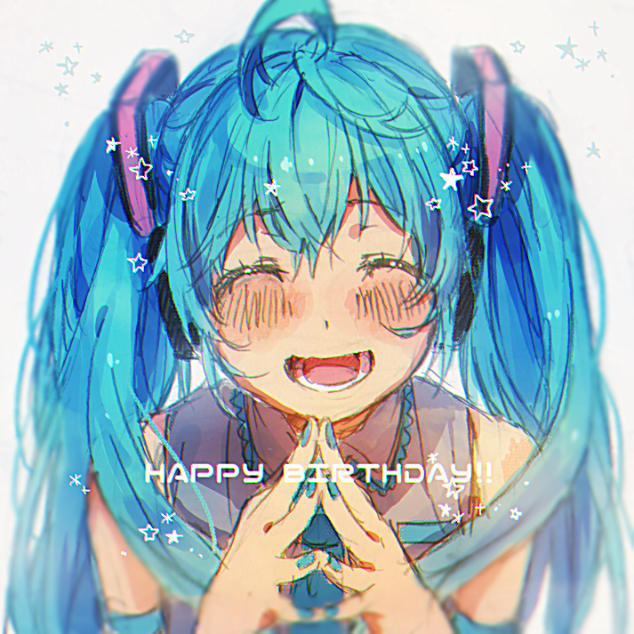 1girl ^_^ blue_hair blue_nails blurry blush close-up closed_eyes depth_of_field english eyebrows_visible_through_hair eyelashes face fingernails graphite_(medium) grey_background grey_shirt hands_together happy happy_birthday hatsune_miku long_hair nail_polish necktie open_mouth shirt simple_background sleeveless sleeveless_shirt smile solo_focus star teeth text_focus traditional_media twintails upper_body vocaloid yuya_kyoro