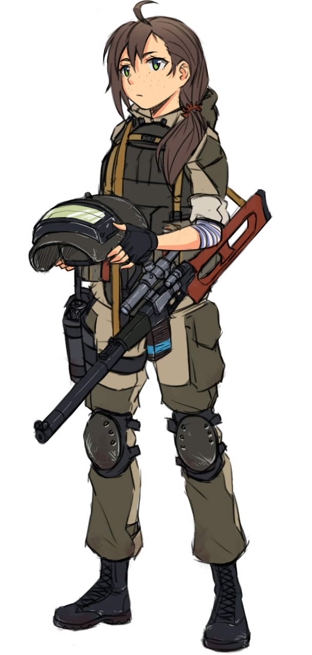 1girl ahoge brown_hair fingerless_gloves freckles full_body gloves green_eyes gun headwear_removed helmet helmet_removed highres holstered_weapon hood hood_down knee_pads military military_uniform ndtwofives original rifle side_ponytail sniper_rifle solo uniform vss_vintorez weapon white_background