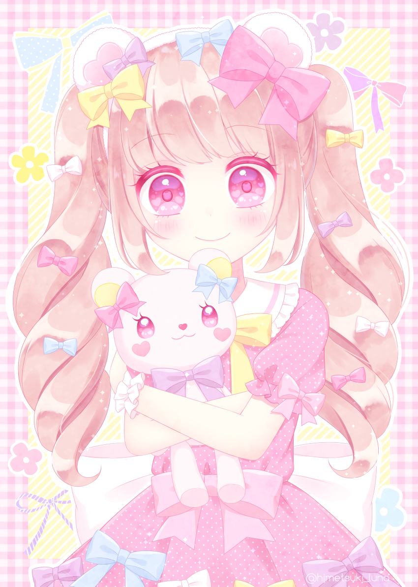 1girl animal_ears bangs bear_ears blue_bow blush bow closed_mouth commentary_request dress drill_hair eyebrows_visible_through_hair frilled_shirt_collar frills hair_bow head_tilt heart heart_in_eye himetsuki_luna light_brown_hair long_hair looking_at_viewer object_hug original pink_bow pink_dress pink_eyes plaid polka_dot polka_dot_dress puffy_short_sleeves puffy_sleeves short_sleeves smile solo stuffed_animal stuffed_toy symbol_in_eye teddy_bear twin_drills twintails very_long_hair white_bow yellow_bow