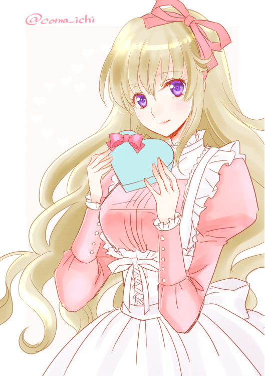 1girl apron artist_name back_bow blonde_hair bow box code_geass:_boukoku_no_akito dress_shirt eyebrows_visible_through_hair floating_hair hair_between_eyes hair_ribbon head_tilt heart-shaped_box holding holding_box komaichi leila_(code_geass) long_hair looking_at_viewer maid pink_ribbon pink_shirt ribbon shiny shiny_hair shirt simple_background smile solo very_long_hair violet_eyes white_apron white_background white_bow