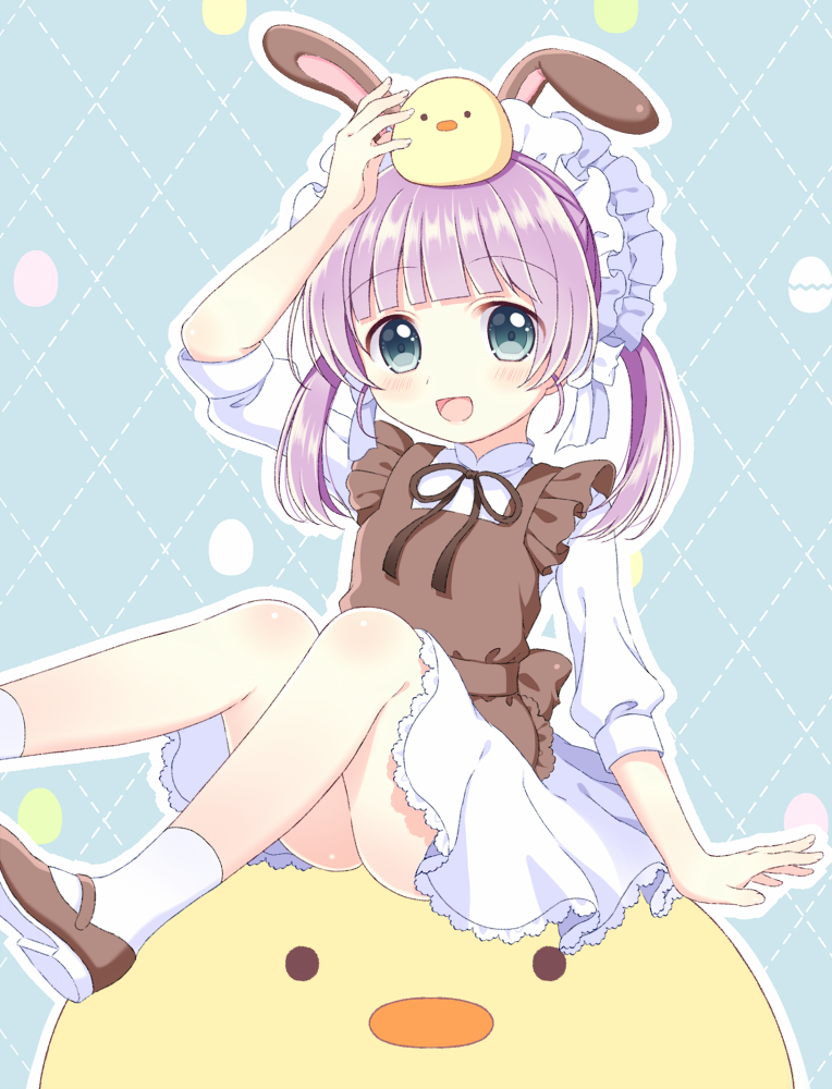1girl :d animal animal_ears animal_on_head apron arm_up bangs bird bird_on_head blunt_bangs blush brown_apron brown_footwear chick dress eyebrows_visible_through_hair green_eyes long_hair looking_at_viewer maid_apron maid_headdress mochi_hiyoko mochi_hiyoko_(character) on_head open_mouth purple_hair rabbit_ears riria_(happy_strawberry) shoes short_sleeves sidelocks sitting smile socks solo twintails virtual_youtuber white_dress white_legwear
