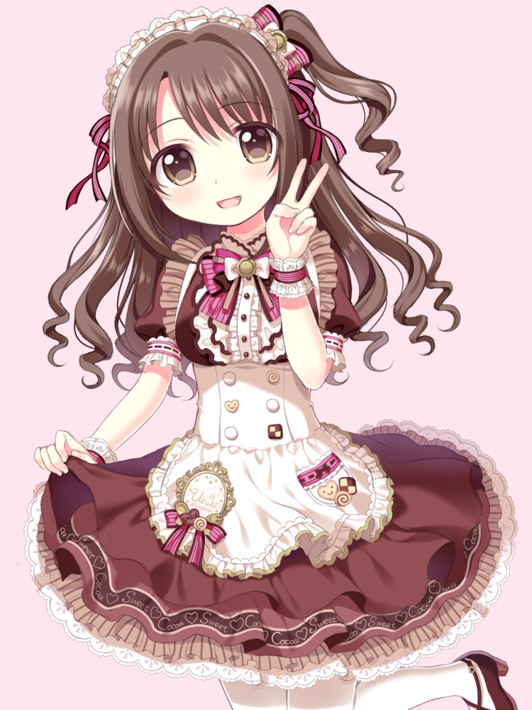 1girl :d apron bangs blush brown_dress brown_eyes brown_footwear brown_hair checkerboard_cookie cookie dress eyebrows_visible_through_hair fingernails food frilled_apron frills hair_between_eyes hand_up head_tilt high_heels idolmaster idolmaster_cinderella_girls long_hair one_side_up open_mouth pantyhose pink_background puffy_short_sleeves puffy_sleeves ribbon-trimmed_sleeves ribbon_trim riria_(happy_strawberry) shimamura_uzuki shoes short_sleeves simple_background skirt_hold smile solo v waist_apron white_apron white_legwear