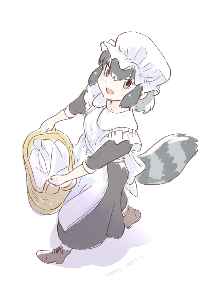 1girl alternate_costume apron blue_eyes boots commentary_request common_raccoon_(kemono_friends) dress enmaided eyebrows_visible_through_hair from_above grey_hair kemono_friends korean_commentary laundry_basket long_dress maid maid_apron maid_cap multicolored_hair raccoon_tail roonhee short_hair short_sleeves solo tail