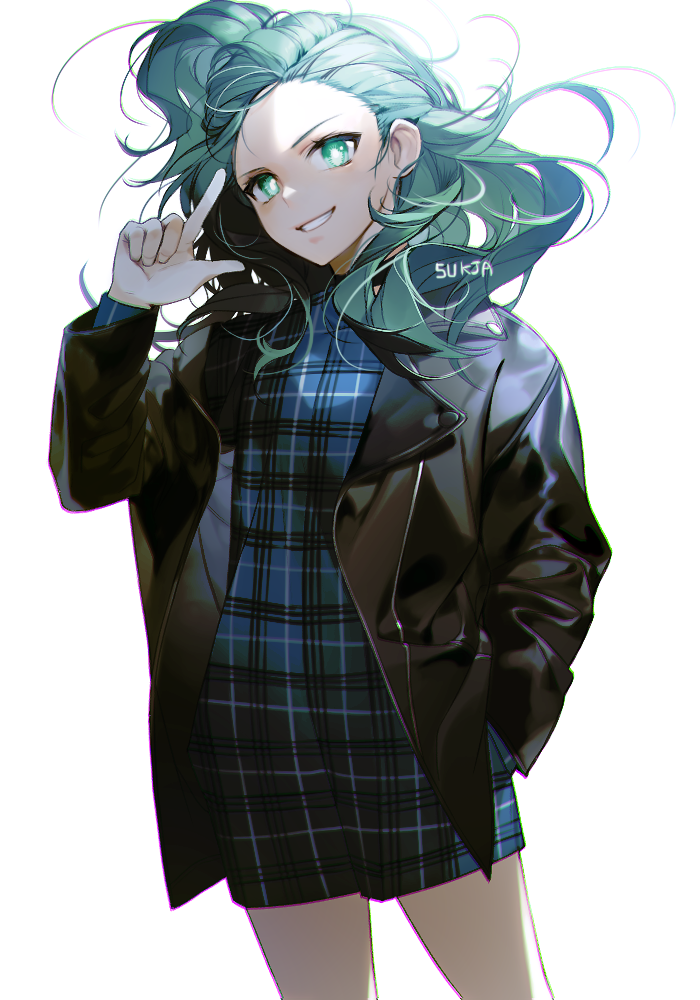 1girl aqua_hair artist_name black_jacket blue_dress chromatic_aberration cowboy_shot cyphers dress finger_gun green_eyes green_hair grin hair_blowing hand_in_pocket hand_up jacket leather leather_jacket long_hair long_sleeves looking_at_viewer michelle_(cyphers) no_bangs one_side_up plaid plaid_dress simple_background smile solo sukja white_background
