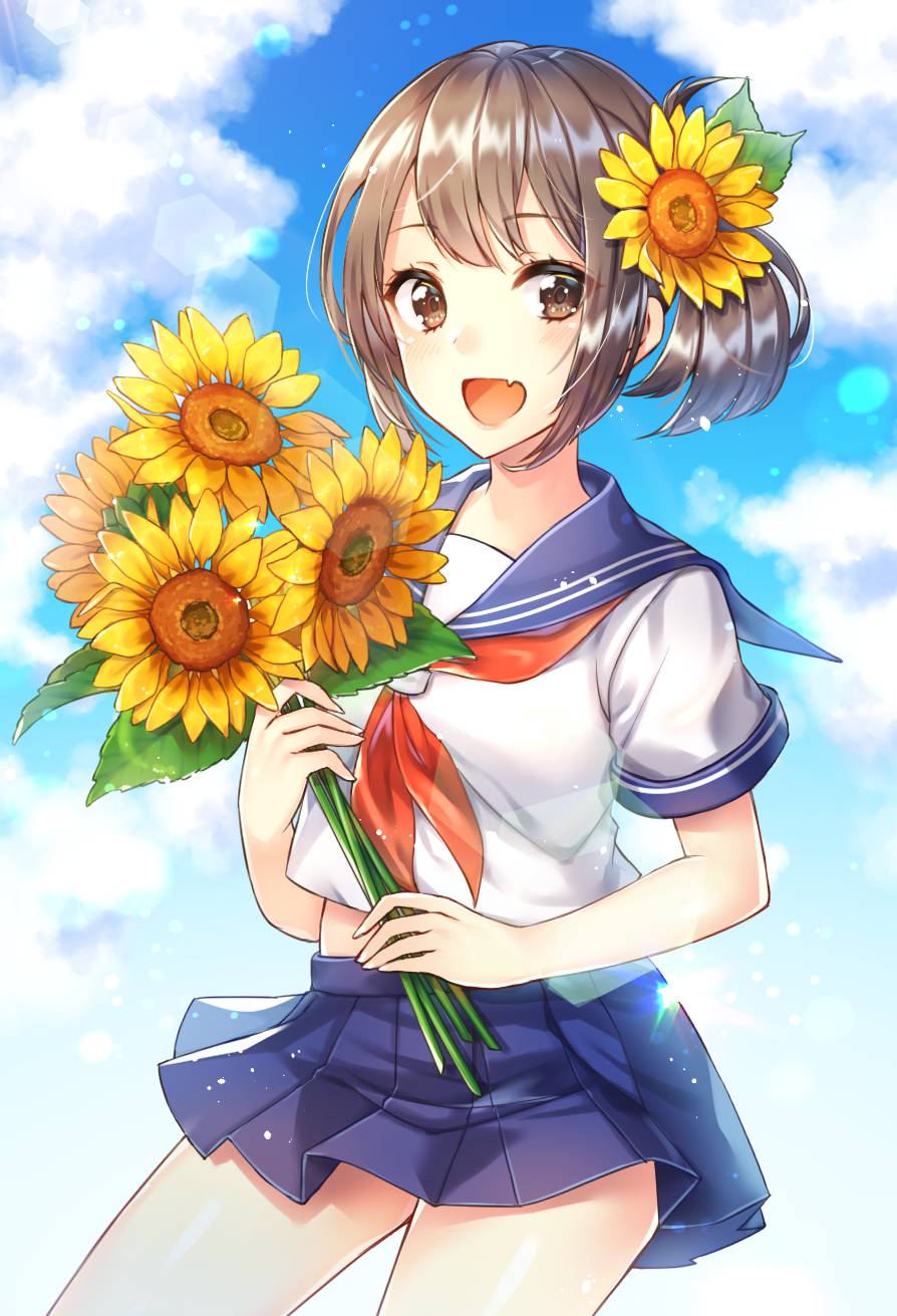 1girl blue_skirt blush breasts brown_eyes brown_hair eyebrows_visible_through_hair flower hair_flower hair_ornament highres holding holding_flower kitazume_kumie looking_at_viewer medium_breasts neckerchief open_mouth original red_neckwear short_hair short_sleeves skirt smile solo sunflower sunflower_hair_ornament