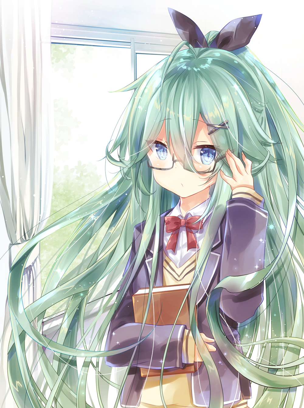 1girl adjusting_eyewear arm_up bangs black-framed_eyewear black_jacket black_ribbon blazer blue_eyes book collared_shirt commentary_request curtains day eyebrows_visible_through_hair fingernails green_hair hair_between_eyes hair_ornament hair_ribbon highres indoors jacket kantai_collection kurun_(kurun777) long_hair long_sleeves object_hug open_blazer open_clothes open_jacket ponytail ribbon semi-rimless_eyewear shirt sleeves_past_wrists solo sweater under-rim_eyewear very_long_hair white_shirt window x_hair_ornament yamakaze_(kantai_collection) yellow_sweater