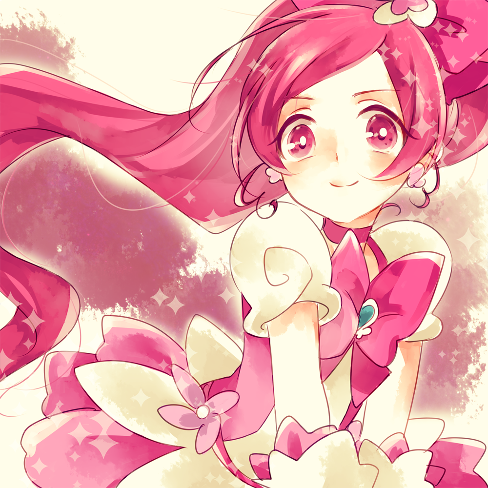 1girl bow choker close-up cure_blossom dress earrings hair_bow hanasaki_tsubomi heart heartcatch_precure! jewelry long_hair looking_at_viewer magical_girl pink_bow pink_choker pink_eyes pink_hair ponytail precure puffy_short_sleeves puffy_sleeves short_sleeves smile solo sparkle upper_body very_long_hair w00p