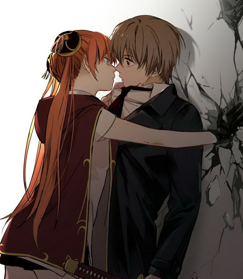 1boy 1girl against_wall black_gloves black_jacket black_neckwear blue_eyes brown_hair couple double_bun gintama gloves holding holding_sword holding_weapon imminent_kiss jacket kagura_(gintama) loli_bushi long_hair necktie okita_sougo orange_hair red_eyes sheath shirt standing sword twintails very_long_hair weapon white_shirt