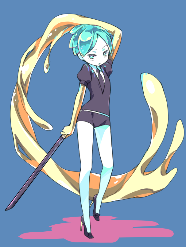 1other amimi androgynous aqua_eyes aqua_hair blue_background full_body gem_uniform_(houseki_no_kuni) gold golden_arms green_eyes green_hair high_heels houseki_no_kuni looking_at_viewer necktie phosphophyllite short_hair solo sword weapon