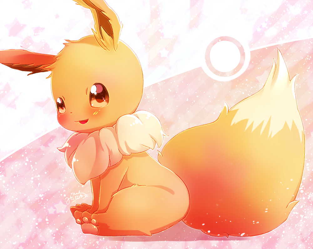 brown_eyes eevee full_body looking_at_viewer mikoko_(mg2) no_humans pokeball_symbol pokemon pokemon_(creature) sitting tongue tongue_out
