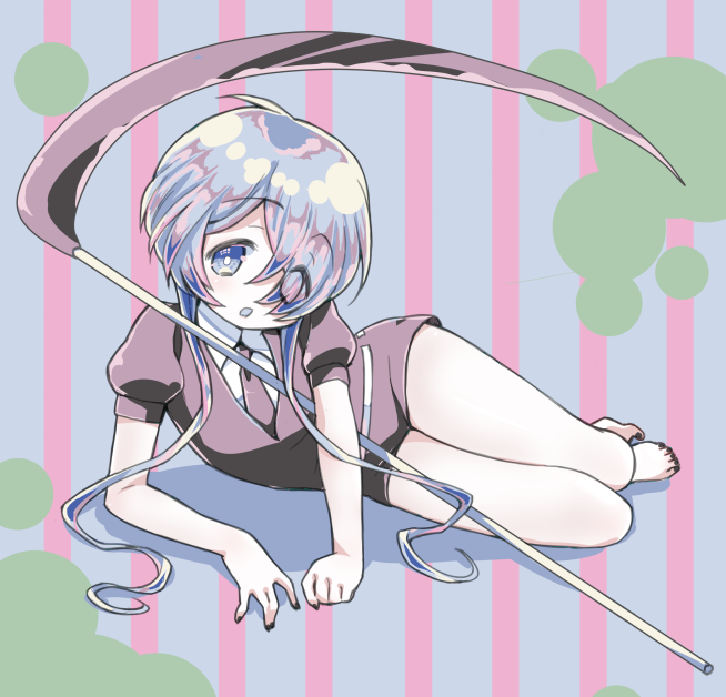 1other amimi androgynous barefoot crystal_hair gem_uniform_(houseki_no_kuni) ghost_quartz_(houseki_no_kuni) grey_eyes hair_over_one_eye houseki_no_kuni looking_at_viewer lying necktie on_side scythe short_hair silver_hair solo striped striped_background