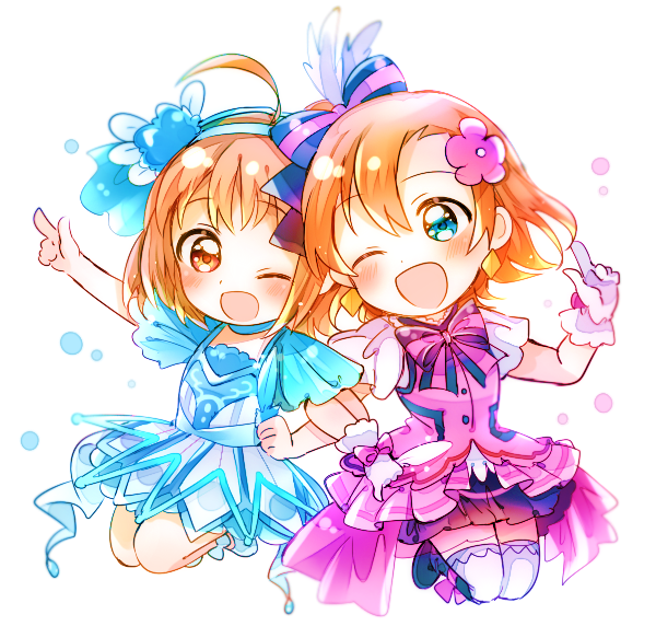 2girls ;d ahoge arm_up bangs blue_dress blue_eyes blush boots bow bowtie chibi dress earrings feathers flower gloves hair_bow hair_feathers hair_flower hair_ornament hairband hand_up index_finger_raised jewelry jumping kanarin97 kira-kira_sensation! kousaka_honoka locked_arms love_live! love_live!_school_idol_project love_live!_sunshine!! multiple_girls one_eye_closed open_mouth orange_hair overskirt pink_dress red_eyes short_hair smile striped_neckwear takami_chika thigh-highs water_blue_new_world white_background white_gloves