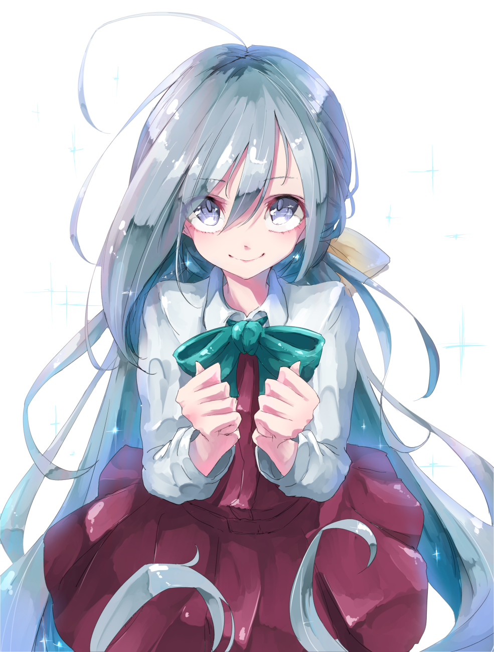 1girl blue_bow blue_eyes blush bow closed_mouth dress eyebrows_visible_through_hair hair_between_eyes highres kantai_collection kiyoshimo_(kantai_collection) long_dress long_hair ninniku_mashimashi shirt silver_hair simple_background smile solo very_long_hair white_background white_shirt