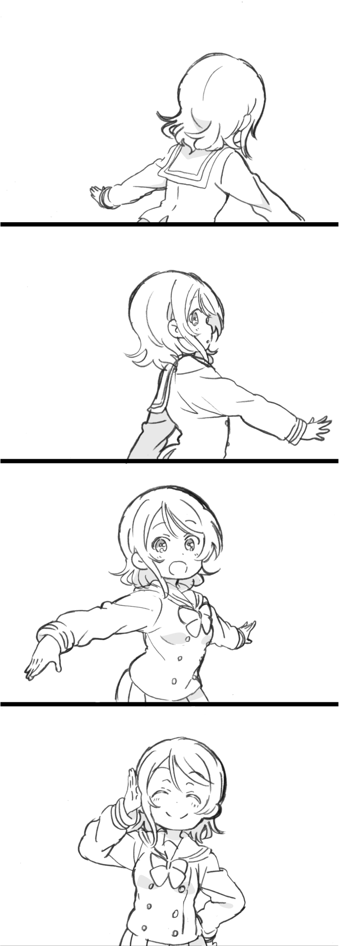 1girl 4koma :d ^_^ closed_eyes closed_eyes comic facing_away facing_viewer from_side greyscale hand_on_hip hand_up highres long_sleeves looking_at_viewer looking_back love_live! love_live!_sunshine!! mezashi_(mezamashi_set) monochrome neck_ribbon open_mouth outstretched_arms parted_lips pleated_skirt profile ribbon sailor_collar salute school_uniform serafuku short_hair silent_comic simple_background skirt smile solo spread_arms tareme upper_body uranohoshi_school_uniform watanabe_you white_background