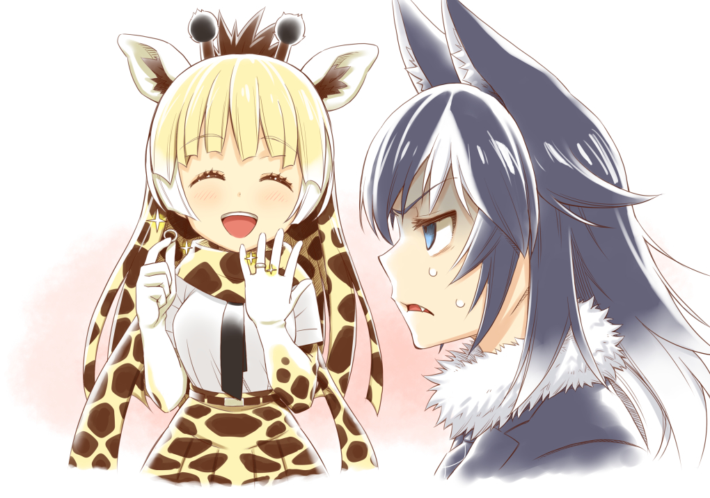 2girls ^_^ animal_ears bangs black_hair black_neckwear blazer blonde_hair blue_eyes brown_hair closed_eyes closed_eyes commentary_request elbow_gloves eyebrows_visible_through_hair fang fur_collar giraffe_ears giraffe_horns giraffe_print gloves gradient_hair grey_wolf_(kemono_friends) half-closed_eyes hands_up holding holding_ring jacket jewelry kemono_friends long_hair multicolored_hair multiple_girls necktie open_mouth outstretched_hand parted_lips plaid_neckwear print_gloves print_neckwear print_skirt reticulated_giraffe_(kemono_friends) ring scarf shirt short_sleeves sidelocks skirt smile sparkle sweat sweating_profusely turn_pale two-tone_hair upper_body v-shaped_eyebrows wedding_band white_hair white_shirt wolf_ears wolf_girl zawashu |d