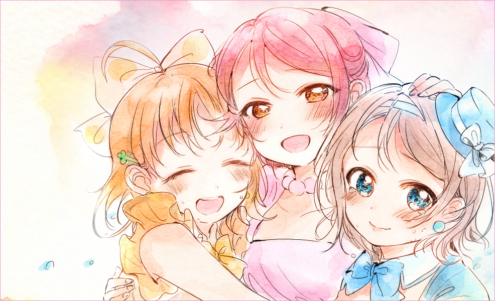 3girls :d ^_^ ahoge bangs blue_hat blue_neckwear blush bow bowtie closed_eyes closed_eyes detached_collar earrings girl_sandwich grey_hair hair_bow hair_ribbon hairband half_updo hand_on_another's_head hat hat_bow hug jewelry kanarin97 looking_at_viewer love_live! love_live!_sunshine!! multiple_girls necklace omoi_yo_hitotsu_ni_nare open_mouth orange_hair pink_ribbon polka_dot polka_dot_bow redhead ribbon round_teeth sakurauchi_riko sandwiched smile takami_chika teeth traditional_media upper_body upper_teeth watanabe_you watercolor_(medium) white_bow yellow_bow