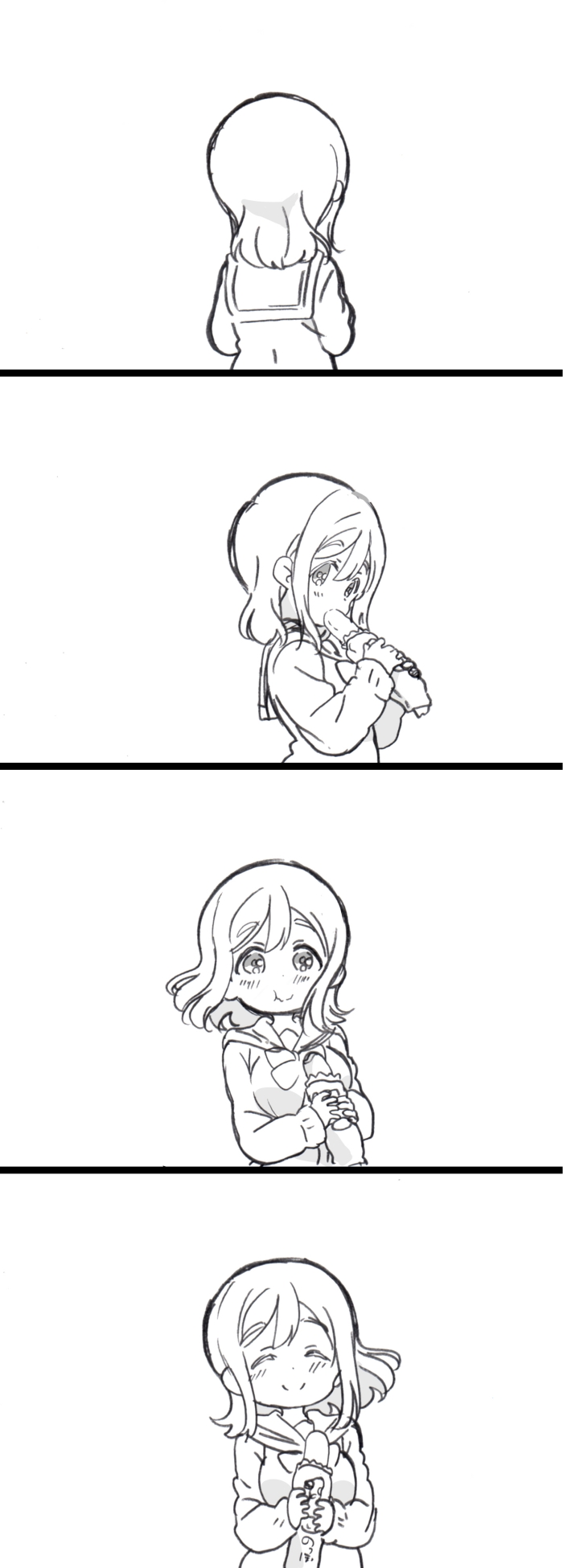 1girl 4koma ^_^ closed_eyes closed_eyes closed_mouth comic dot_nose facing_away facing_viewer floating_hair food food_in_mouth from_side greyscale hands_up highres holding holding_food kunikida_hanamaru long_sleeves looking_at_viewer love_live! love_live!_sunshine!! medium_hair mezashi_(mezamashi_set) monochrome neck_ribbon ribbon sailor_collar school_uniform serafuku silent_comic simple_background smile solo tareme upper_body uranohoshi_school_uniform wavy_mouth white_background