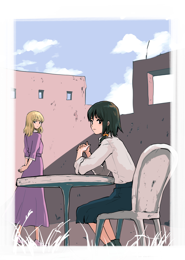 2girls arms_behind_back black_eyes black_hair black_skirt blonde_hair blue_sky chair clouds commentary_request dress grass hands_together interlocked_fingers kuma_(crimsonvanilla) long_hair looking_at_viewer maribel_hearn multiple_girls no_hat no_headwear purple_dress ruins shirt short_hair sitting skirt sky sleeves_rolled_up table touhou usami_renko white_shirt