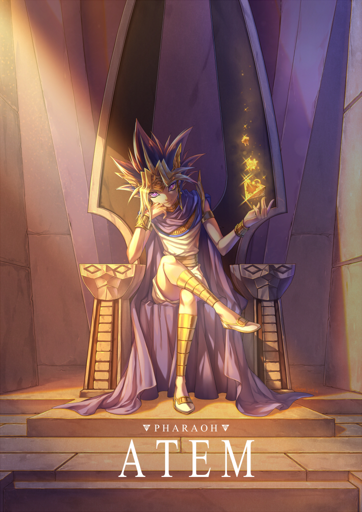 1boy atem cape character_name chin_rest full_body indoors legs_crossed long_hair looking_at_viewer purple_cape siaoyu sitting solo spiky_hair sunlight violet_eyes yu-gi-oh!