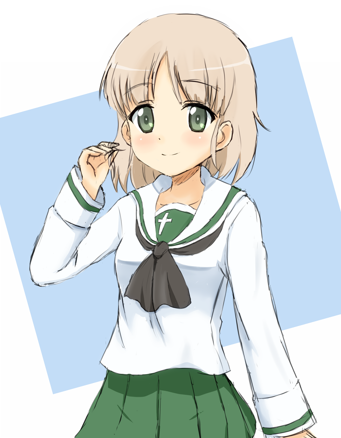 1girl aki_(girls_und_panzer) black_neckwear collarbone eyebrows_visible_through_hair girls_und_panzer green_eyes hair_twirling looking_at_viewer ma-2_(konkon_kitakitsune) ooarai_school_uniform pleated_skirt shirt short_hair silver_hair skirt smile solo standing white_shirt
