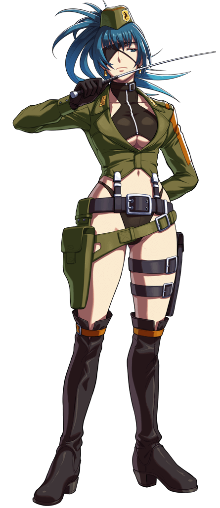1girl alternate_costume belt black_gloves black_panties blue_hair boots breasts earrings eyepatch garrison_cap gloves hat holding_whip holster jewelry leona_heidern military military_hat military_uniform no_pants official_art ogura_eisuke panties riding_crop simple_background snk snk_heroines:_tag_team_frenzy solo the_king_of_fighters thigh-highs thigh_boots thigh_holster thigh_strap under_boob underwear uniform whip
