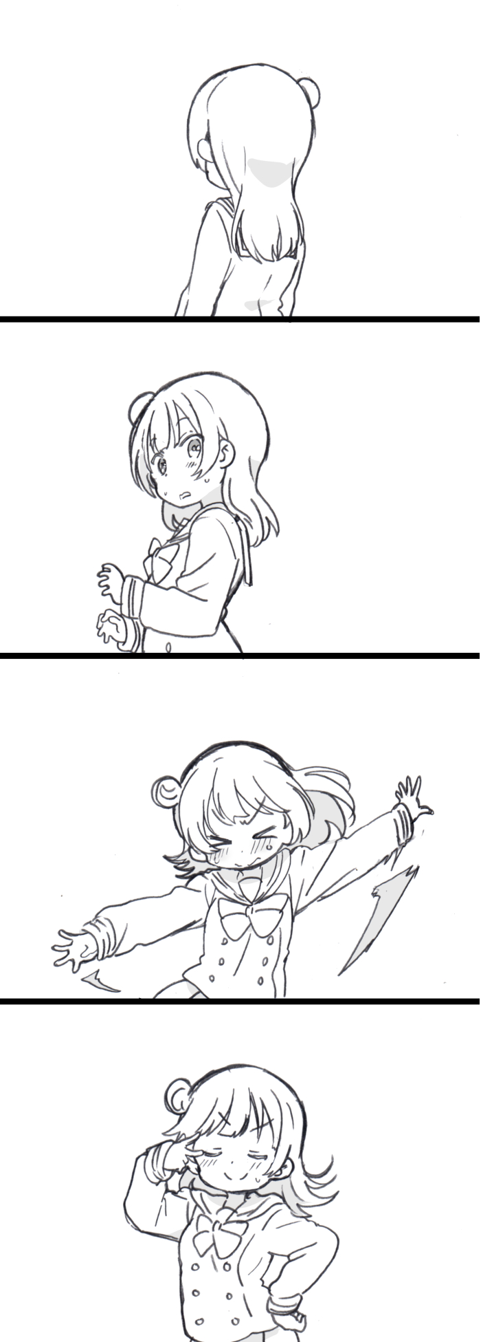 >_< 1girl 3: 4koma arms_at_sides blush closed_mouth comic dot_nose embarrassed facing_away facing_viewer floating_hair from_side greyscale hair_bun hand_on_hip hand_up hands_up highres long_sleeves looking_at_viewer love_live! love_live!_sunshine!! medium_hair mezashi_(mezamashi_set) monochrome motion_lines neck_ribbon nervous outstretched_arms parted_lips pleated_skirt pose ribbon sailor_collar school_uniform serafuku side_bun silent_comic simple_background skirt smile solo spread_arms sweat tsushima_yoshiko upper_body uranohoshi_school_uniform v v-shaped_eyebrows v_over_eye wavy_mouth white_background