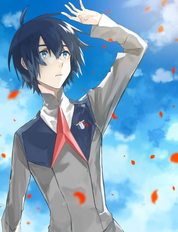 1boy bangs black_hair blue_eyes blue_sky clouds cloudy_sky commentary_request darling_in_the_franxx day haisato_(ddclown14) hand_up hiro_(darling_in_the_franxx) long_sleeves male_focus military military_uniform necktie petals red_neckwear short_hair sky solo uniform