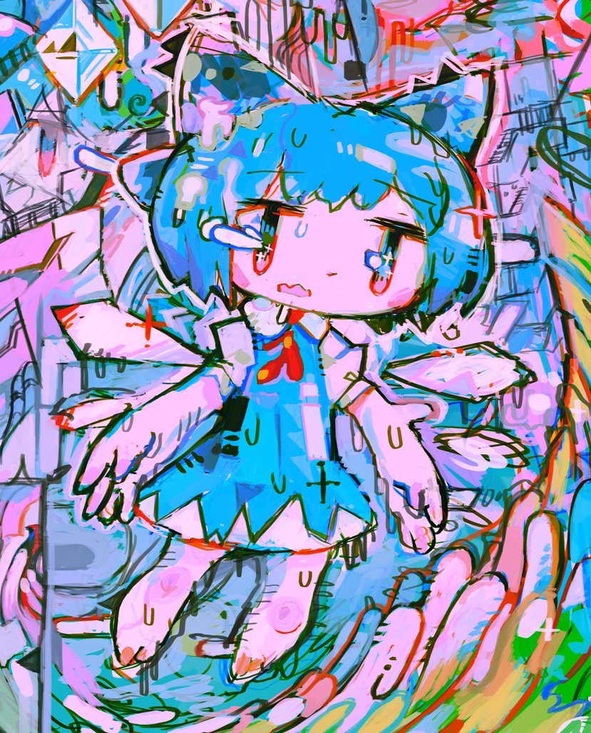 1girl abstract bangs barefoot blue_bow blue_dress blue_hair bow cirno dress eyebrows_visible_through_hair hair_bow hito_(nito563) ice ice_wings melting multicolored multicolored_eyes open_mouth puffy_short_sleeves puffy_sleeves short_hair short_sleeves solo touhou wings