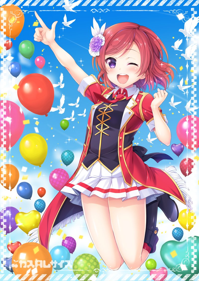 1girl ;d arm_up back_bow balloon bird black_footwear blush bokura_no_live_kimi_to_no_life boots border bow circle_name clenched_hand clouds collared_shirt commentary_request condensation_trail day eyebrows_visible_through_hair feathers flower fringe hair_feathers hair_flower hair_ornament hand_up heart_balloon index_finger_raised jacket looking_at_viewer love_live! love_live!_school_idol_project necktie nishikino_maki one_eye_closed open_mouth outdoors pleated_skirt purple_flower purple_rose red_jacket red_neckwear rose round_teeth sakurai_makoto_(custom_size) shirt short_hair short_sleeves skirt smile solo teeth upper_teeth violet_eyes white_feathers white_skirt