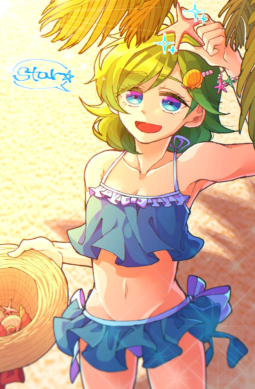 1girl bikini blue_eyes blue_swimsuit cute fire_emblem fire_emblem:_rekka_no_ken fire_emblem_heroes green_hair hair_ornament hat hat_removed headwear_removed highres holding holding_hat hzk_(ice17moon) intelligent_systems midriff navel nino_(fire_emblem) nintendo open_mouth short_hair solo starfish sun_hat swimsuit
