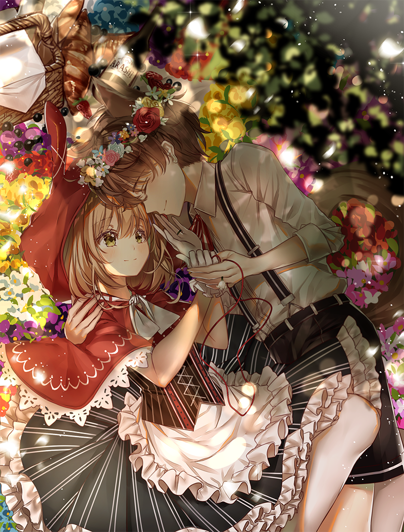1boy 1girl animal_ears baguette basket big_bad_wolf big_bad_wolf_(cosplay) big_bad_wolf_(grimm) black_dress black_shorts bottle bread brown_hair card_captor_sakura closed_eyes cosplay couple dress food frilled_dress frills green_eyes hand_holding head_wreath hetero hood kinomoto_sakura li_xiaolang little_red_riding_hood little_red_riding_hood_(grimm) little_red_riding_hood_(grimm)_(cosplay) lium lying red_hood red_string shorts string suspenders tail wine_bottle wolf_ears wolf_tail