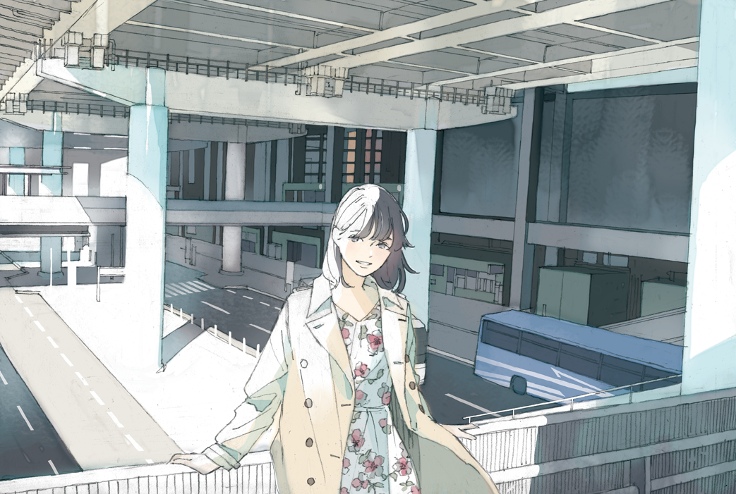 1girl black_eyes black_hair building bus commentary_request dress floral_print grin ground_vehicle leaning long_sleeves looking_at_viewer medium_hair motor_vehicle original outdoors print_dress railing road shade smile solo standing trench_coat wamizu