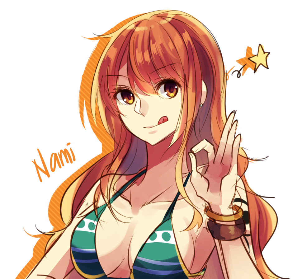 1girl :q bracelet breasts character_name cleavage collarbone earrings eyebrows_visible_through_hair green_bikini_top hair_between_eyes jewelry long_hair looking_at_viewer medium_breasts nami_(one_piece) namiey one_piece orange_hair sideboob solo star striped tattoo tongue tongue_out upper_body white_background yellow_eyes