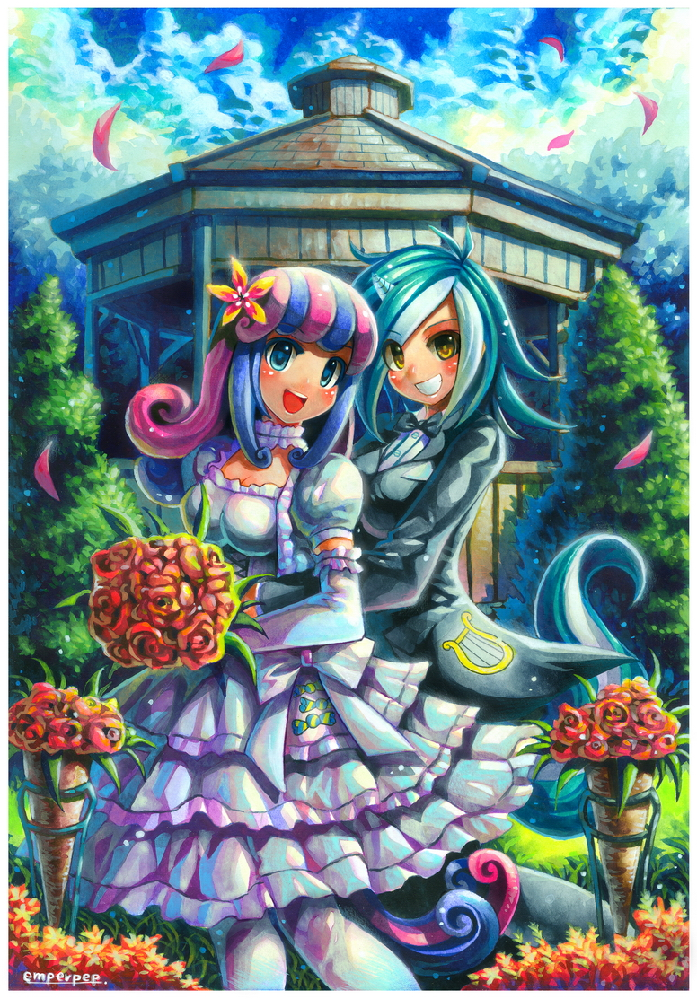 2girls artist_name blue_eyes blue_hair blush bonbon_(my_little_pony) bouquet breasts brown_eyes cleavage day dress elbow_gloves emperpep flower gazebo gloves green_hair hair_flower hair_ornament holding holding_bouquet horn humanization looking_at_viewer lyra_heartstrings medium_breasts medium_hair multicolored_hair multiple_girls my_little_pony my_little_pony_friendship_is_magic open_mouth outdoors pantyhose parted_lips pink_hair short_hair signature smile standing tail teeth white_dress white_gloves white_hair white_legwear