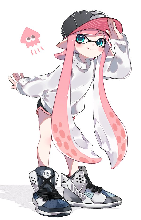 1girl bangs baseball_cap black_hat black_shorts blunt_bangs child closed_mouth commentary cross-laced_footwear domino_mask emblem full_body green_eyes hat high_tops inkling leaning_forward long_hair long_sleeves looking_at_viewer maco_spl mask pink_hair pointy_ears shading_eyes short_shorts shorts simple_background smile solo splatoon splatoon_2 squid standing sweater tentacle_hair very_long_hair white_background white_footwear white_sweater