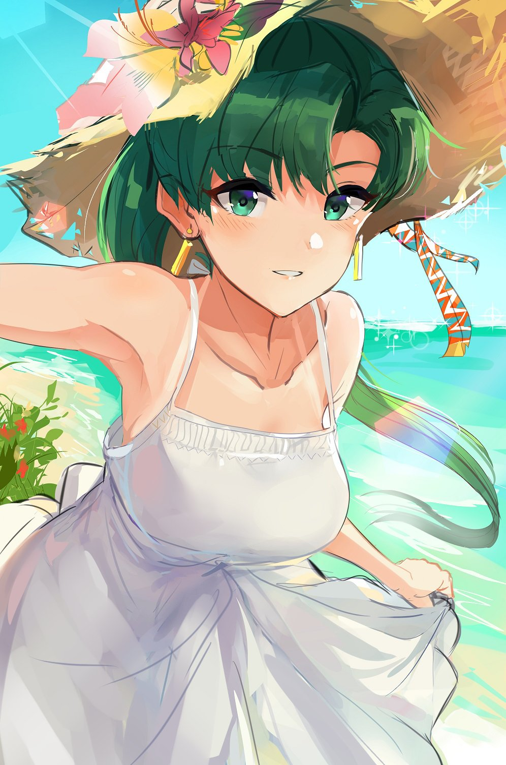 1girl alternate_costume asymmetrical_bangs bangs beach breasts collarbone dress earrings fire_emblem fire_emblem:_rekka_no_ken flower green_eyes green_hair hat hat_flower highres jewelry long_hair looking_at_viewer lyndis_(fire_emblem) medium_breasts ocean ormille parted_bangs ponytail skirt_hold smile solo straw_hat sun_hat sunlight white_dress