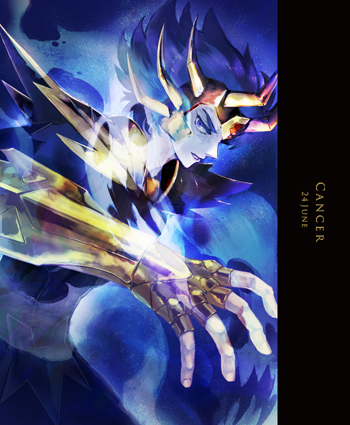 1boy aura blue_background blue_eyes blue_hair cancer_deathmask character_name dated fighting_stance fingerless_gloves from_side gauntlets ghost gloves gold_saint horns horocca looking_at_viewer looking_to_the_side male_focus parted_lips saint_seiya short_hair shoulder_armor solo spaulders