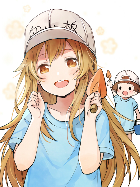 2girls :d arm_up bangs blue_shirt blush brown_eyes brown_hair bucket collarbone commentary_request eyebrows_visible_through_hair flat_cap grey_hat hair_between_eyes hands_up hat hataraku_saibou head_tilt holding holding_bucket light_brown_hair long_hair looking_at_viewer multiple_girls open_mouth platelet_(hataraku_saibou) rio_(9251843) shirt short_hair short_sleeves smile solid_circle_eyes trowel upper_teeth very_long_hair