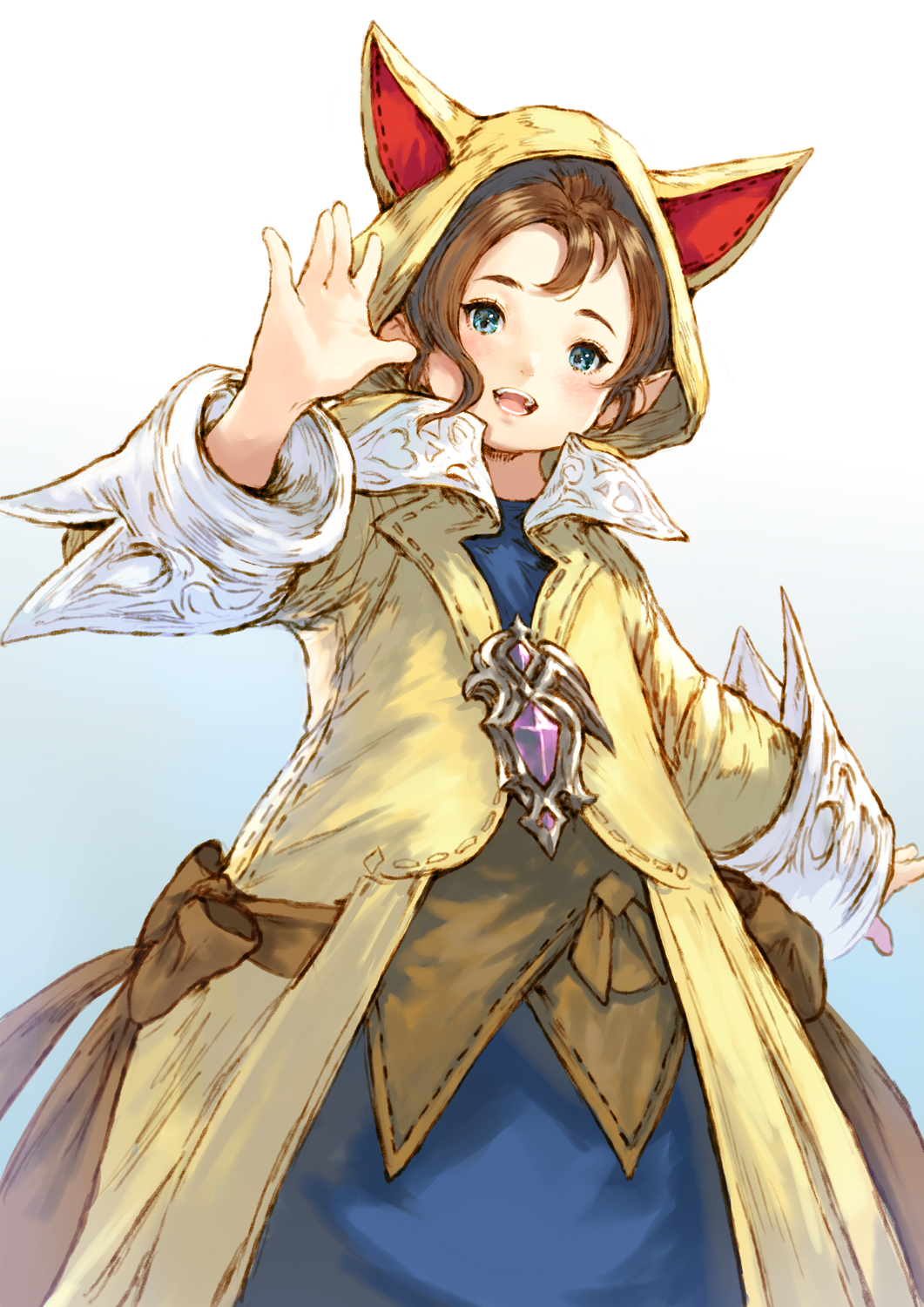 1girl animal_hood blue_eyes brown_hair final_fantasy final_fantasy_xiv gradient gradient_background highres hood krile_mayer_baldesion_(ff14) lalafell looking_at_viewer makimura_shunsuke open_mouth pointy_ears short_hair solo standing waving