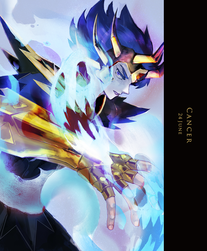 1boy aura blue_eyes blue_hair cancer_deathmask character_name dated fighting_stance fingerless_gloves from_side gauntlets ghost gloves gold_saint grey_background horns horocca looking_at_viewer looking_to_the_side male_focus parted_lips saint_seiya short_hair shoulder_armor solo spaulders