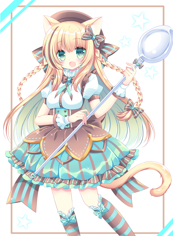 1girl :d animal_ears bangs blush bow braid breasts brown_bow brown_hat cat_ears cat_girl cat_tail commentary_request eyebrows_visible_through_hair fingernails green_eyes green_skirt hair_between_eyes hair_bow hand_up hat holding holding_spoon kneehighs long_hair looking_at_viewer medium_breasts open_mouth original oversized_object pleated_skirt puffy_short_sleeves puffy_sleeves shikito shirt short_sleeves skirt smile solo spoon star striped striped_bow striped_legwear tail twin_braids vertical-striped_skirt vertical_stripes very_long_hair white_shirt wrist_cuffs