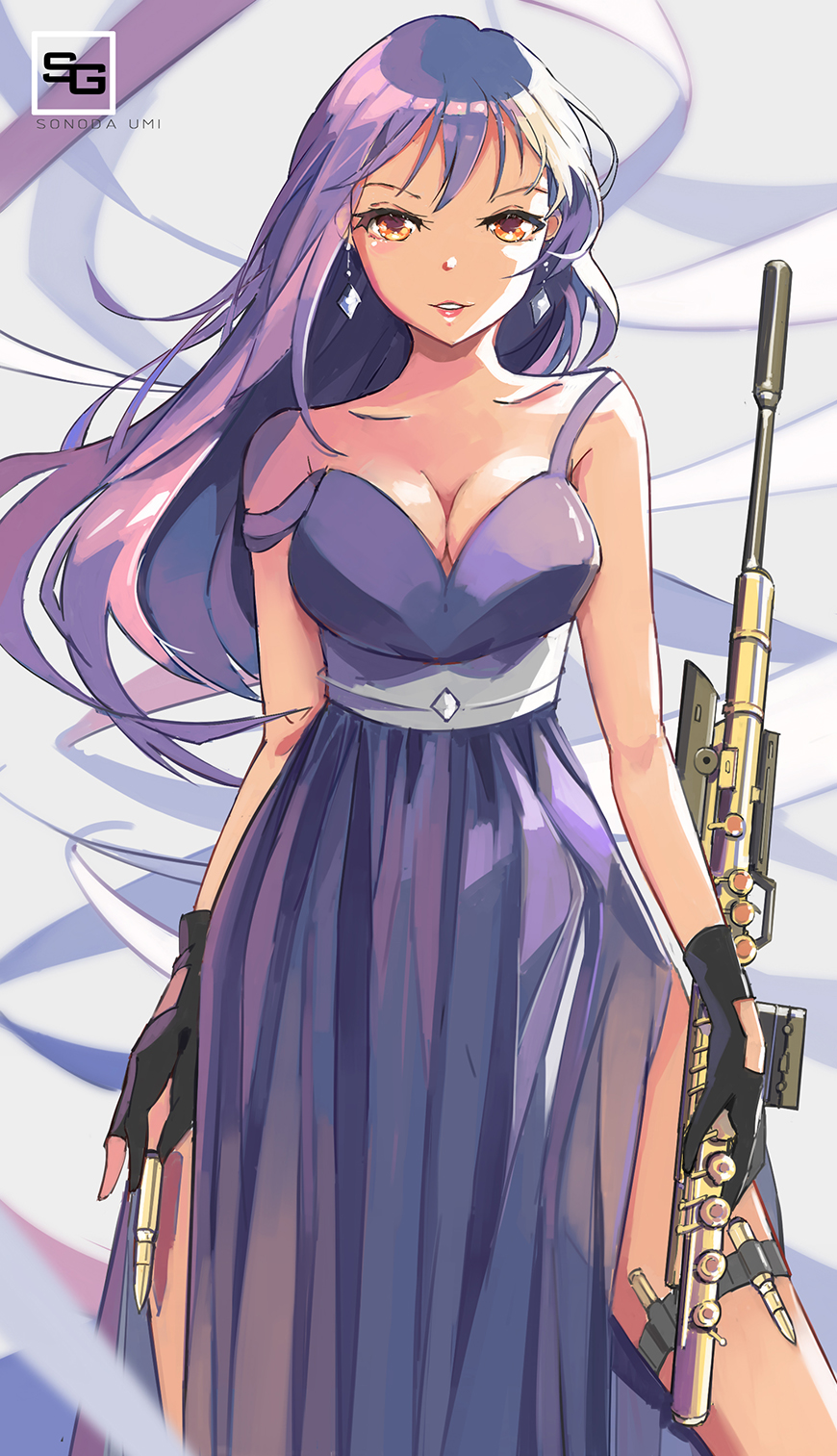 1girl bare_shoulders black_gloves blue_hair blush breasts bullet cleavage commentary_request cowboy_shot dress earrings gloves gun hair_between_eyes highres holding holding_gun holding_weapon jewelry long_hair looking_at_viewer love_live! love_live!_school_idol_project love_live!_sunshine!! qianqian rifle side_slit sleeveless sleeveless_dress sniper_rifle solo sonoda_umi strap_slip weapon yellow_eyes